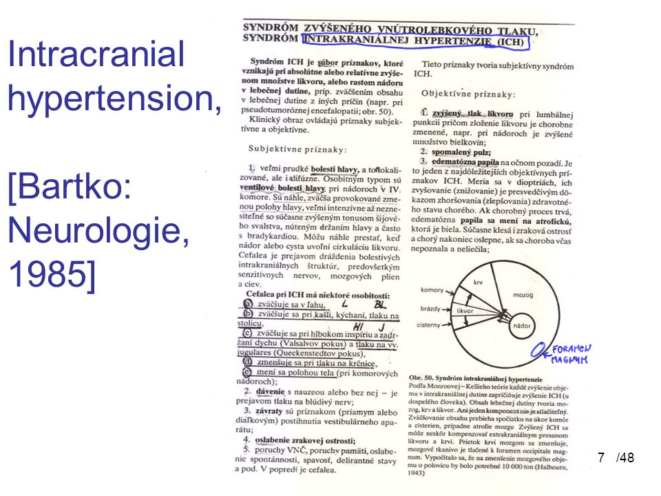 Intracranial hypertension, [Bartko: Neurologie, 1985]